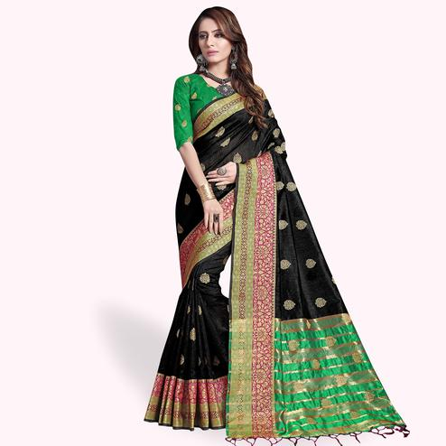Fantastic Black Colored Festive Wear Cotton Silk Saree