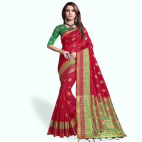 Amazing Red Colored Festive Wear Cotton Silk Saree