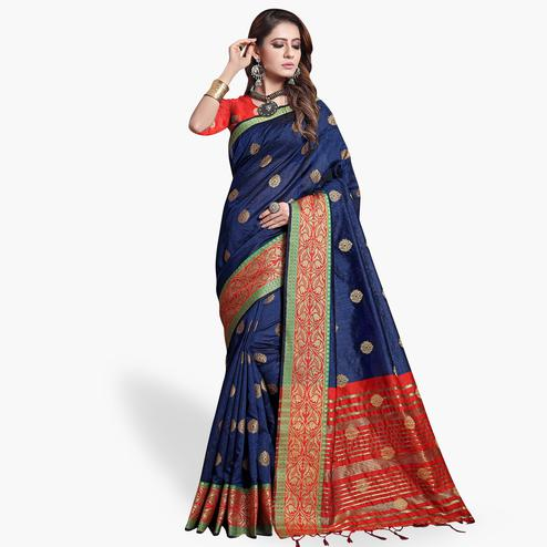Gorgeous Navy Blue Colored Festive Wear Cotton Silk Saree