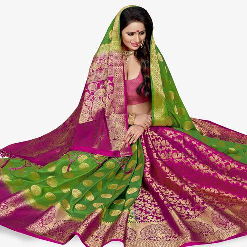 Magnetic Green-Pink Colored Festive Wear Woven Art Silk Saree