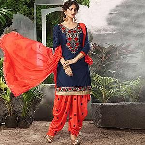 Charming Blue Embroidered Cotton Patialia Suit