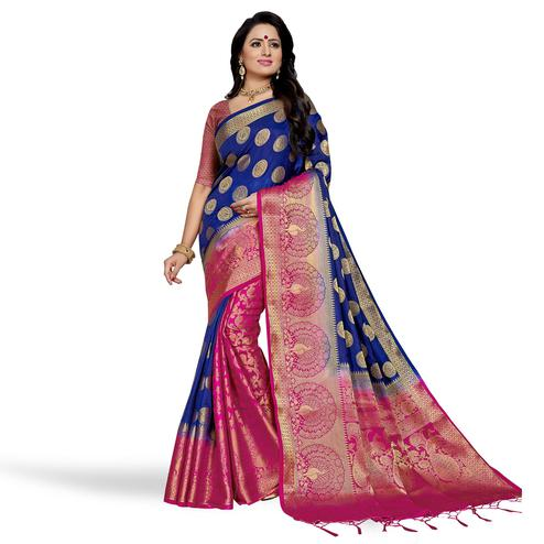 Hypnotic Royal Blue-Pink Colored Festive Wear Woven Art Silk Saree