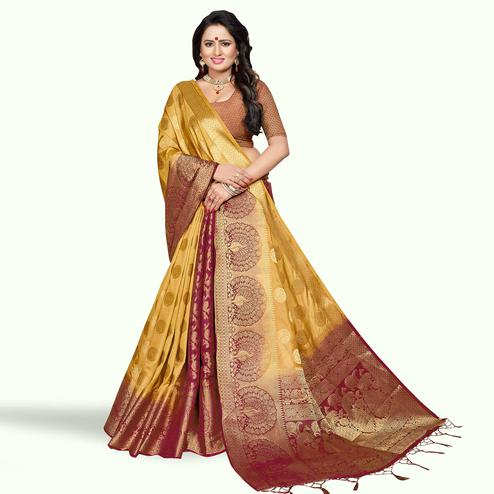 Preferable Mustard-Maroon Colored Festive Wear Woven Art Silk Saree
