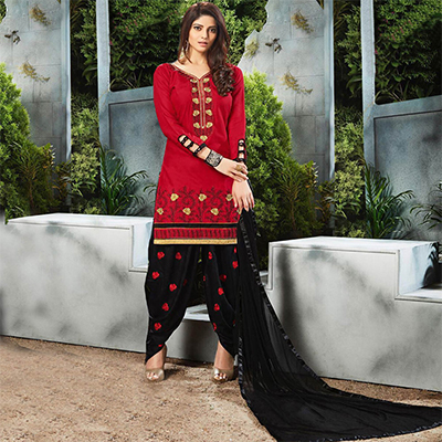Classy Red Embroidered Cotton Patialia Suit