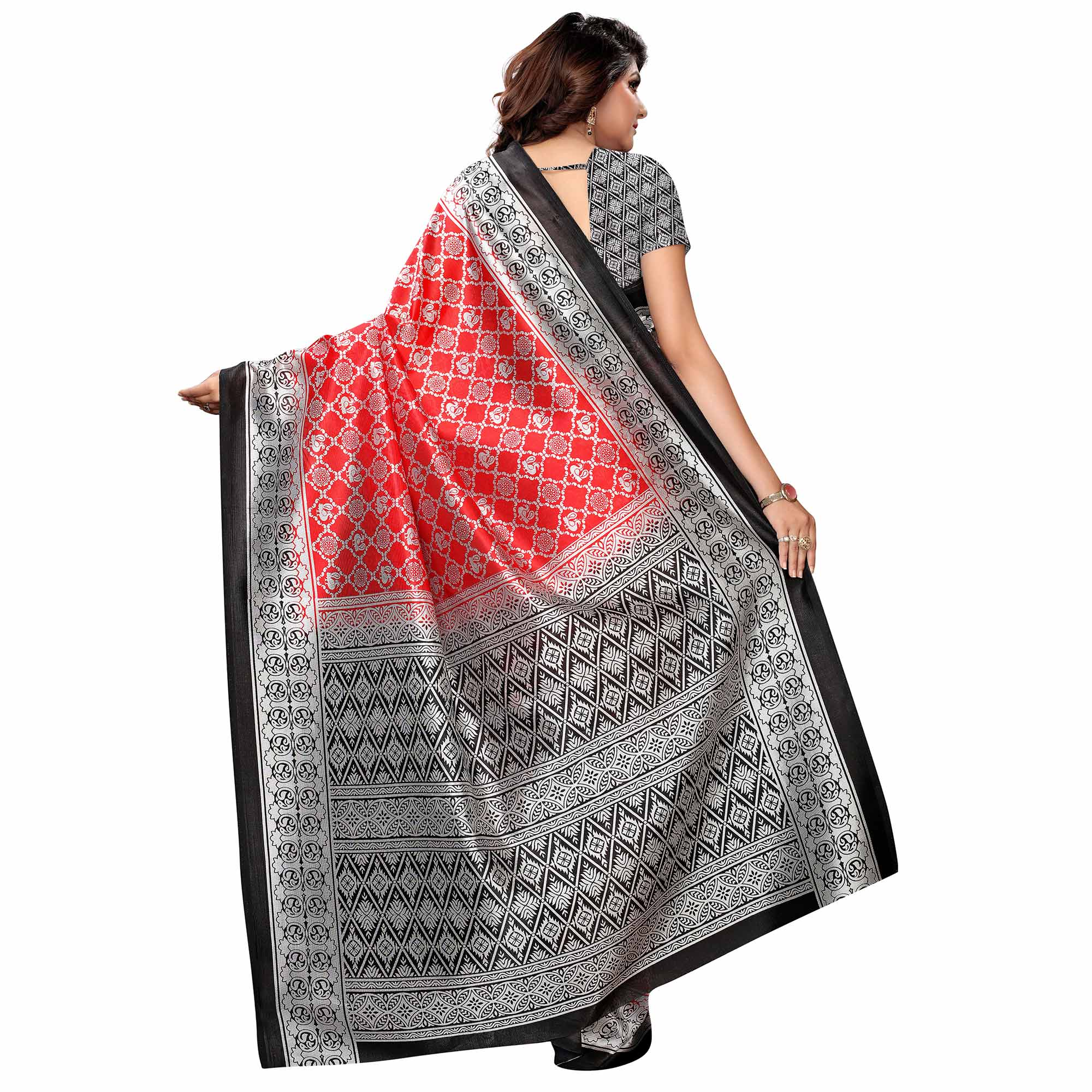 Magnetic Red - Black Colored Festive Wear Woven Art Silk Saree