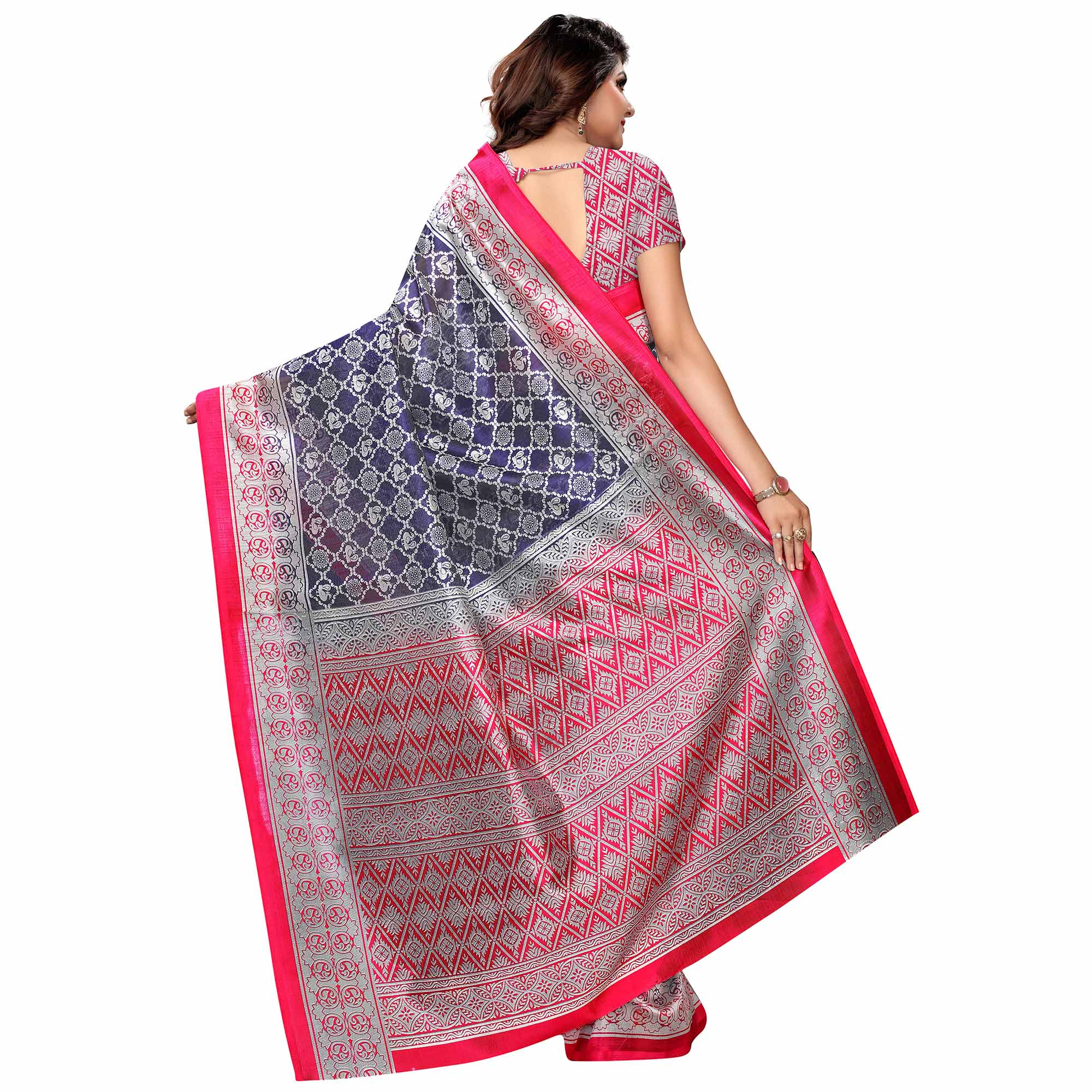 Hypnotic Navy Blue Colored Festive Wear Woven Art Silk Saree