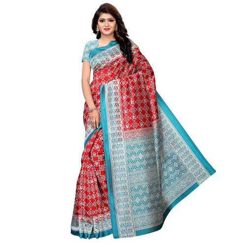 Flattering Red - Blue Colored Festive Wear Woven Art Silk Saree