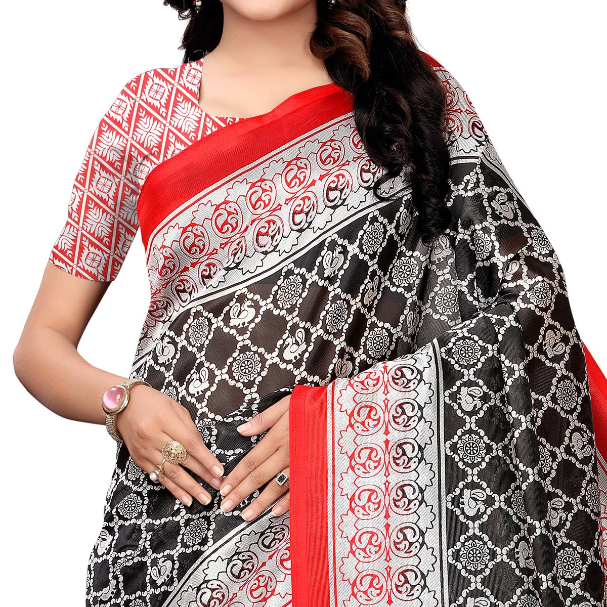 Excellent Black Colored Festive Wear Woven Art Silk Saree
