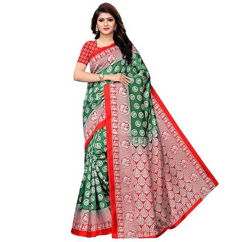 Preferable Green Colored Festive Wear Woven Art Silk Saree
