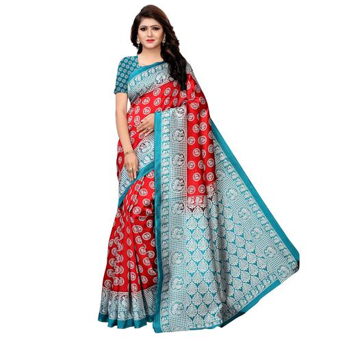 Marvellous Red Colored Festive Wear Woven Art Silk Saree