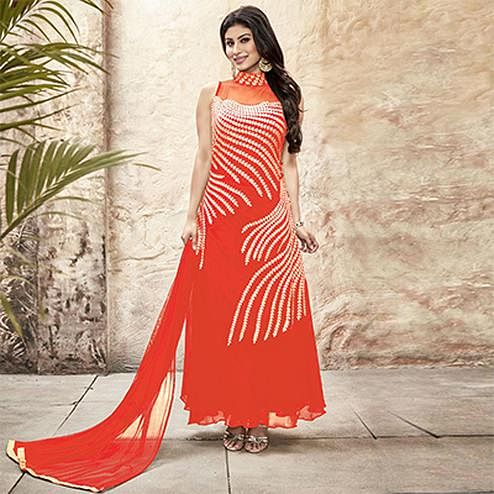 Stunning Orange Embroidered Georgette Gown