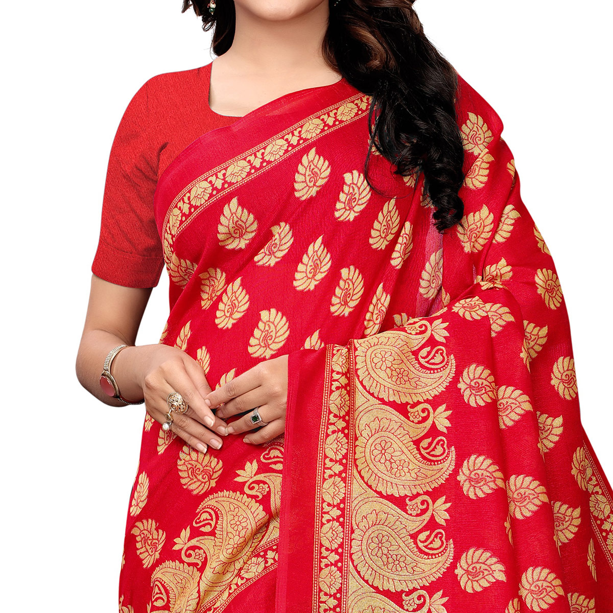Sensational Black - Red Colored Festive Wear Woven Kashmiri Silk Saree