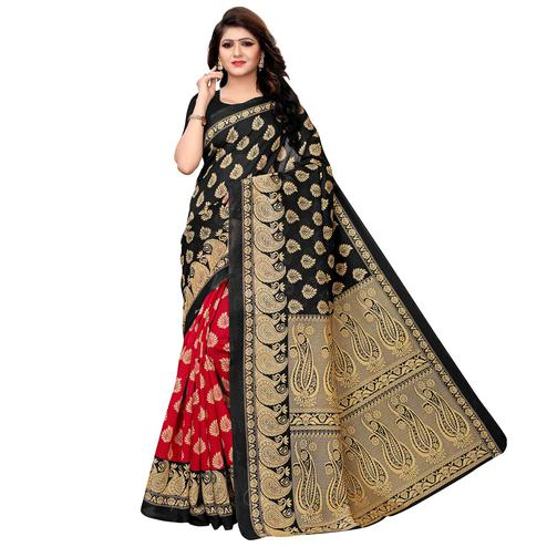 Flaunt Red - Black Colored Festive Wear Woven Kashmiri Silk Saree