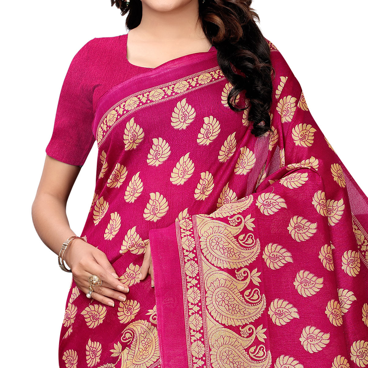 Stunning Turquoise Green - Pink Colored Festive Wear Woven Kashmiri Silk Saree