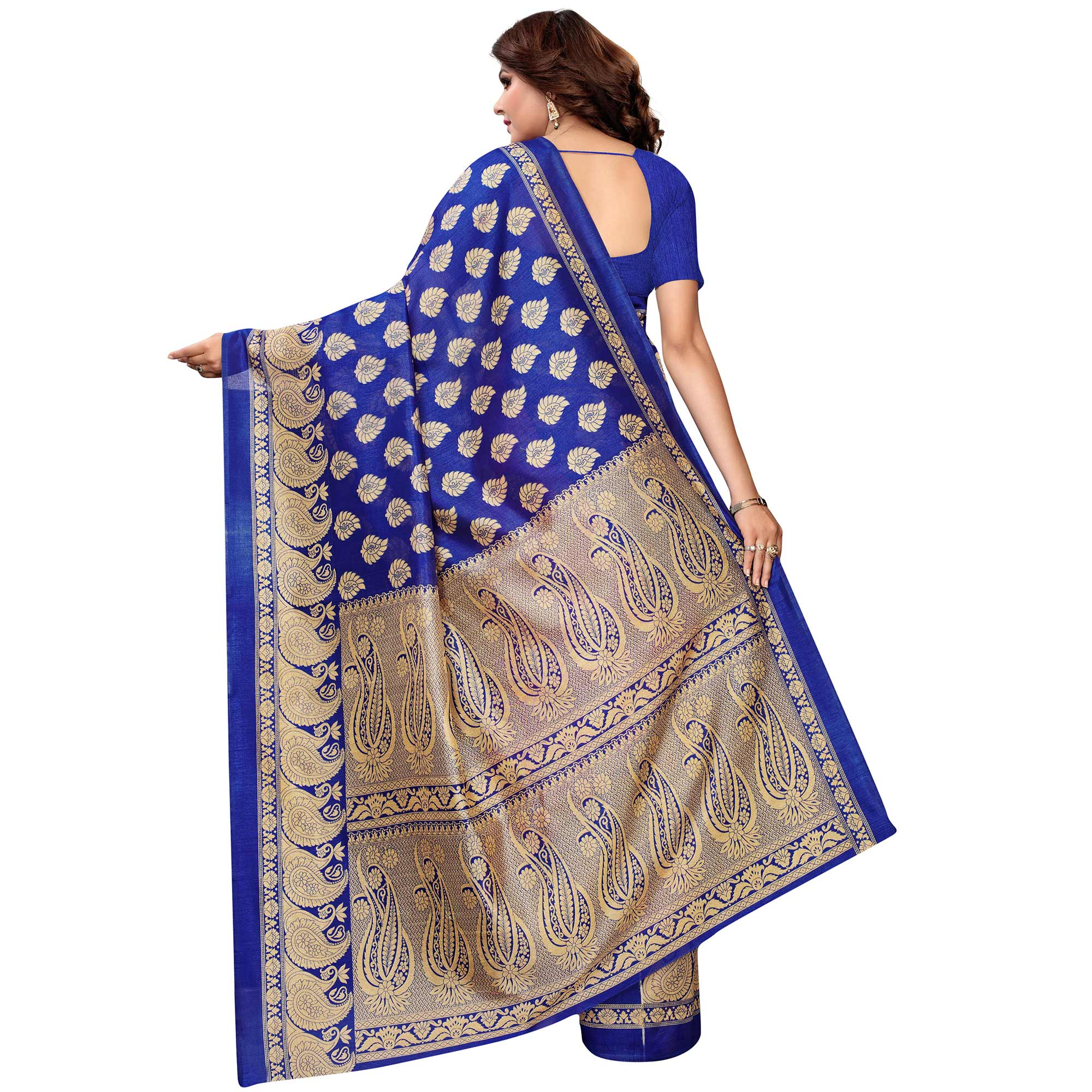 Flirty Pink - Blue Colored Festive Wear Woven Kashmiri Silk Saree