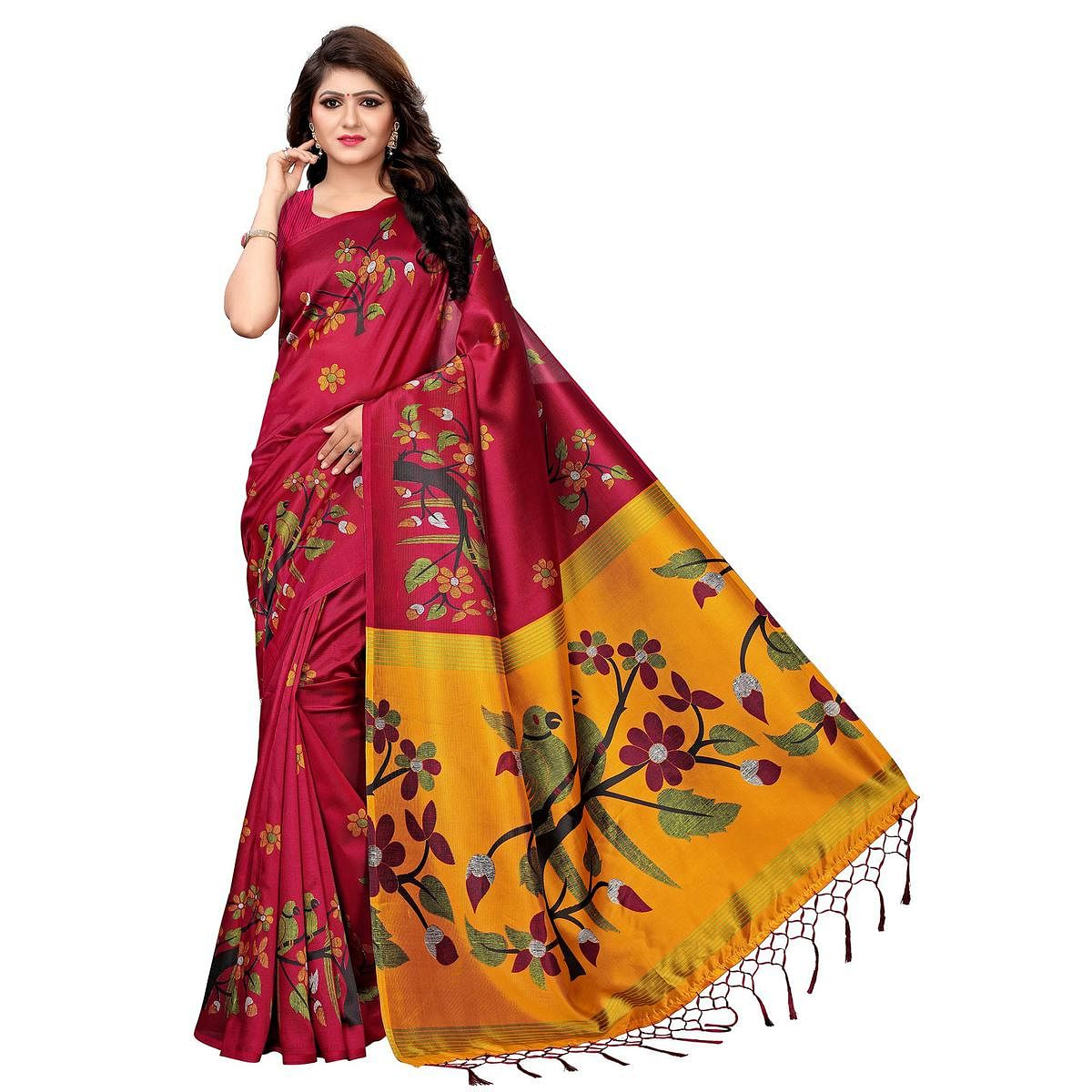 Glorious Red Colored Festive Wear Printed Art Silk Saree
