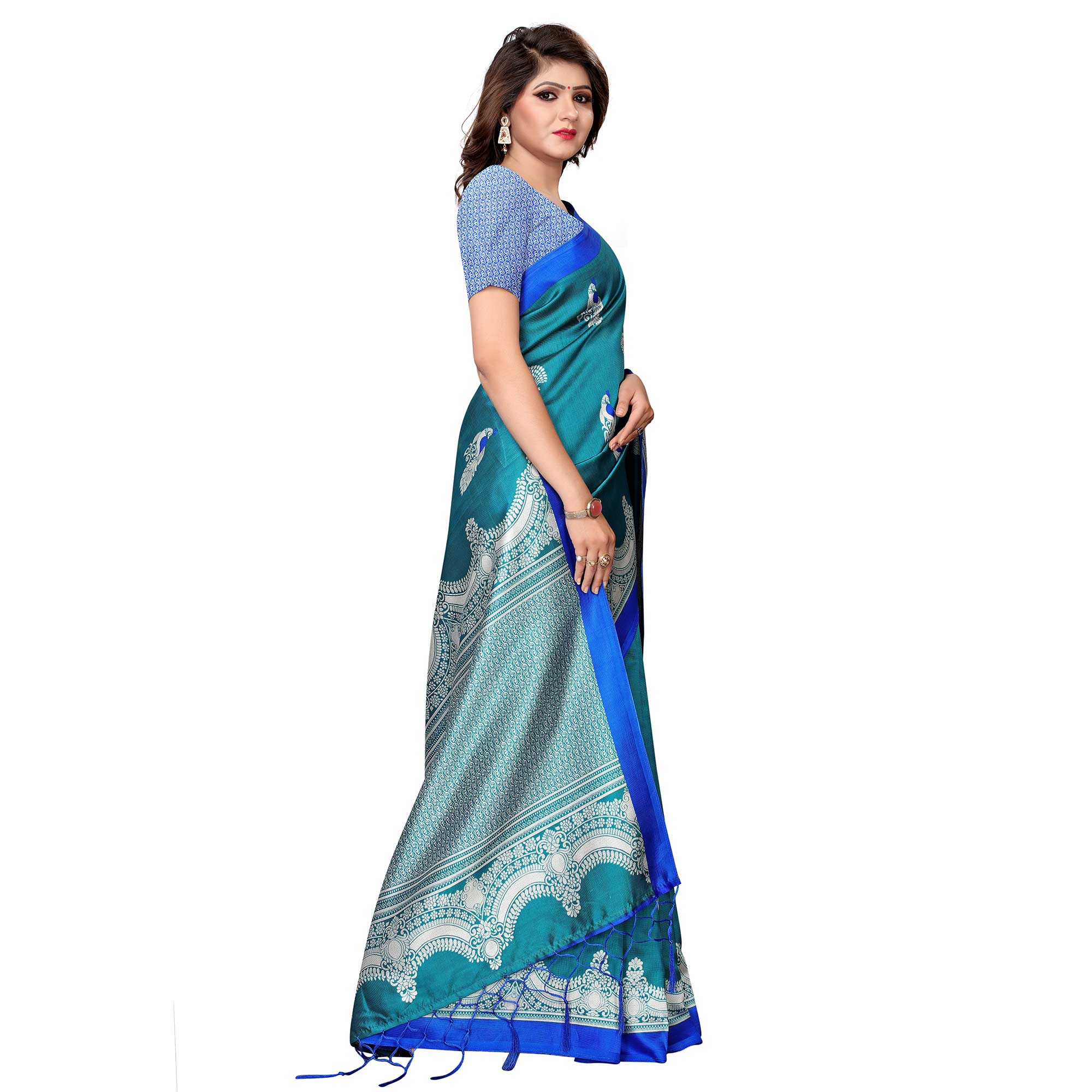 Attractive Rama Green Colored Festive Wear Printed Art Silk Saree