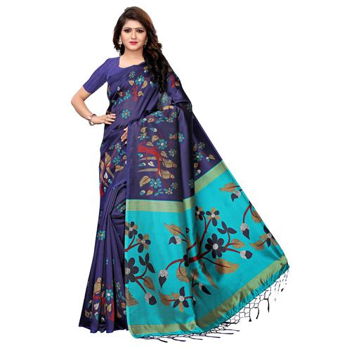 Beautiful Navy Blue Colored Festive Wear Printed Art Silk Saree