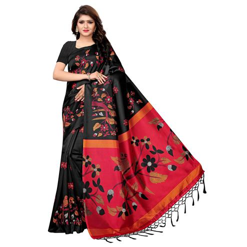 Blooming Black Colored Festive Wear Printed Art Silk Saree