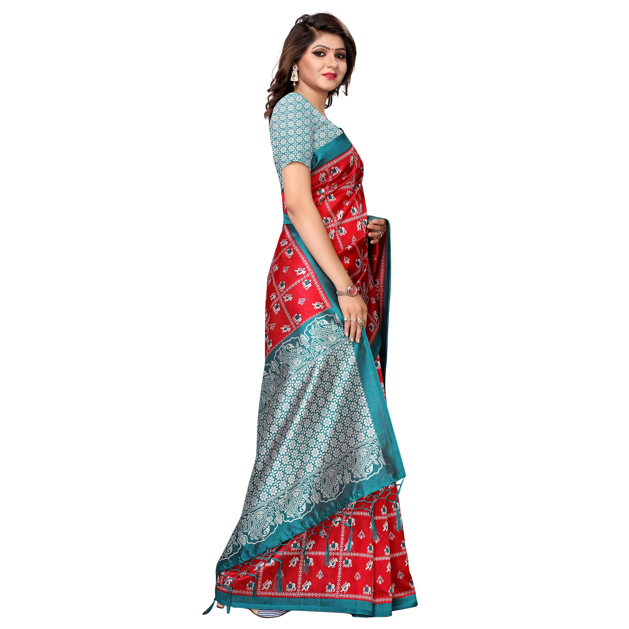 Charming Red Colored Festive Wear Printed Art Silk Saree