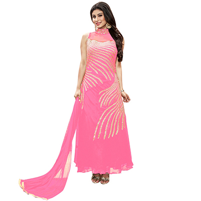 Gorgeous Pink Embroidered Georgette Gown