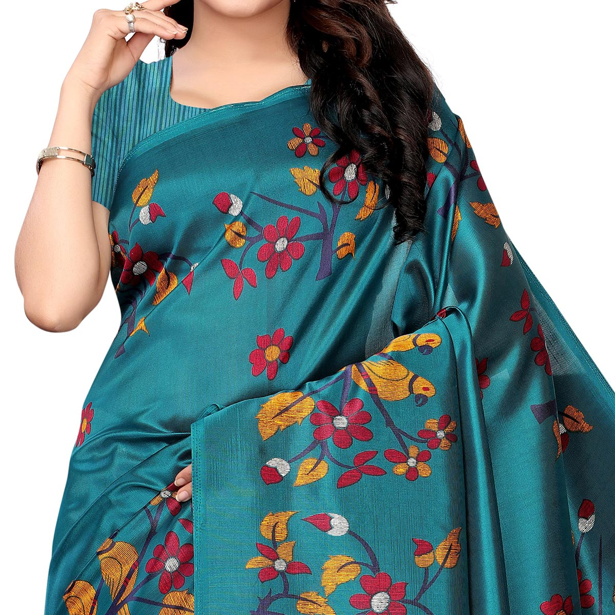 Delightful Rama Green Colored Festive Wear Printed Art Silk Saree