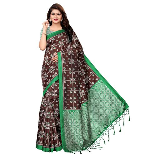 Captivating Brown Colored Festive Wear Printed Art Silk Saree