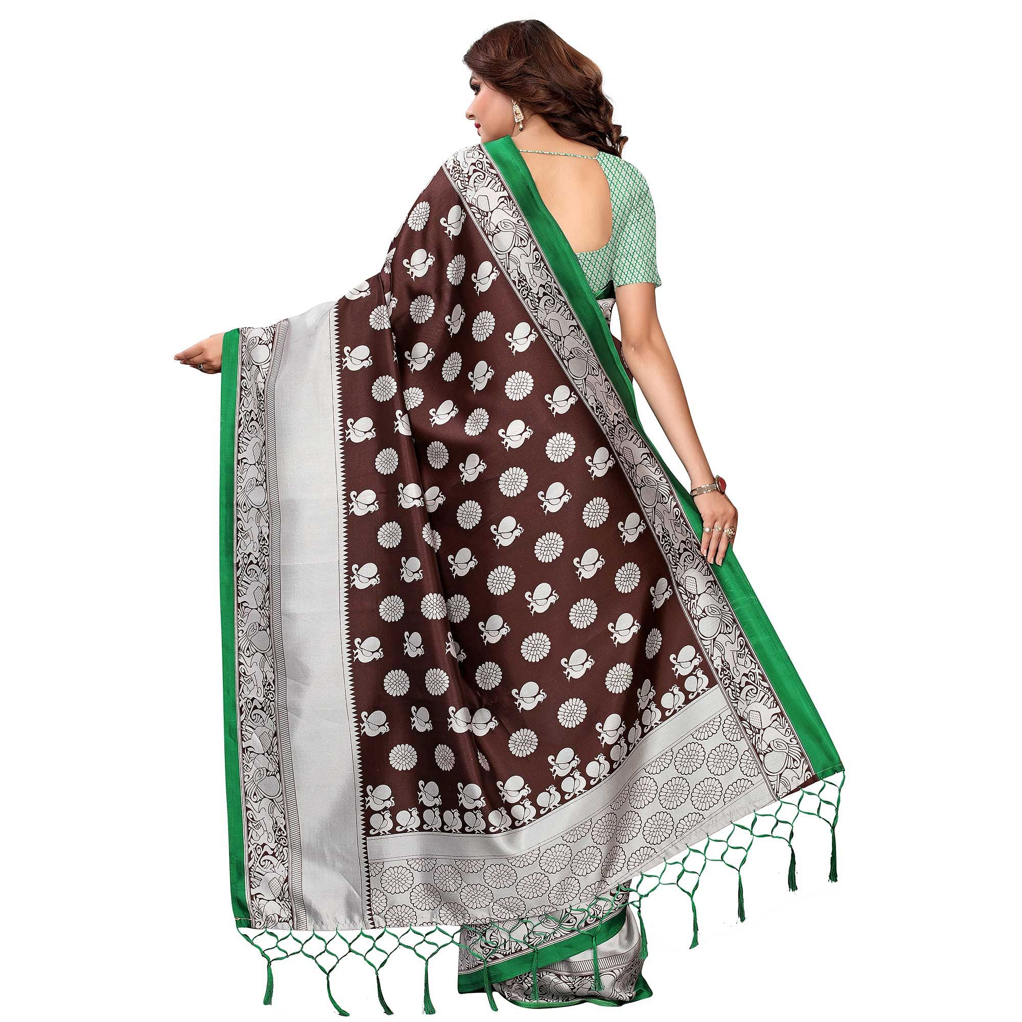 Innovative Brown Colored Festive Wear Printed Art Silk Saree
