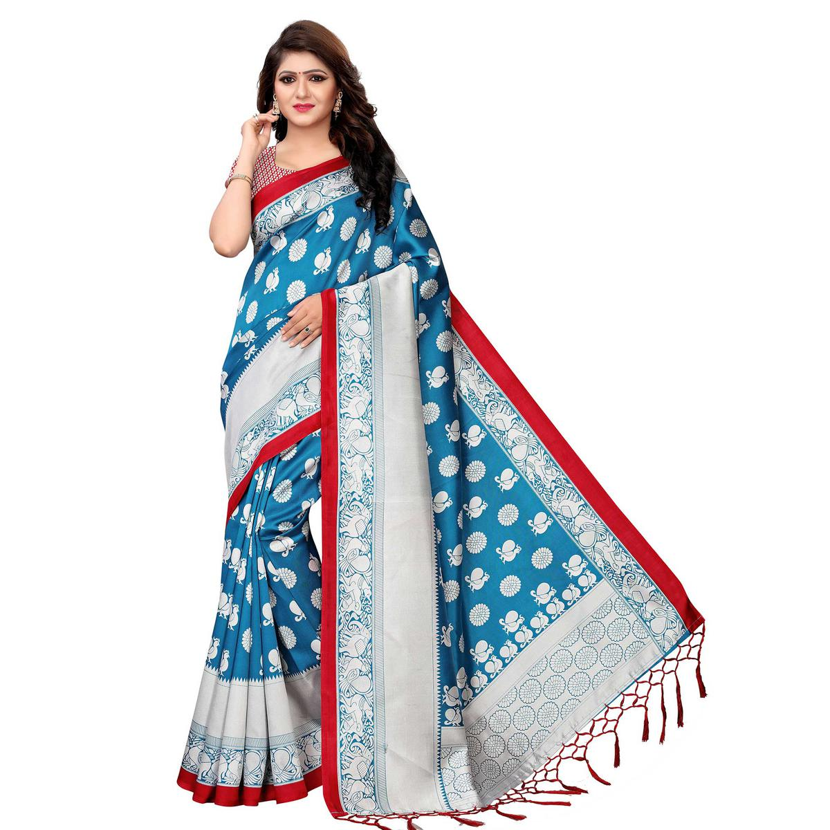 Eye-catching Blue Colored Festive Wear Printed Art Silk Saree