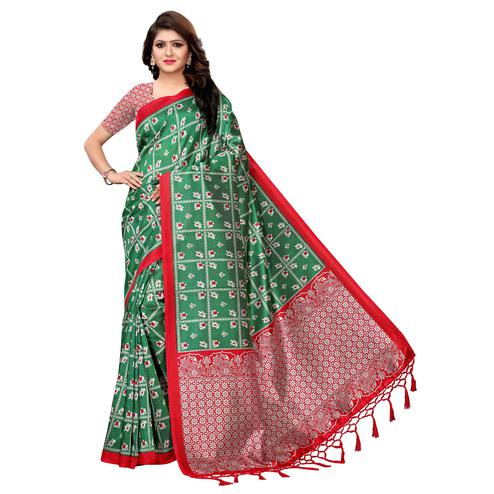 Fantastic Green Colored Festive Wear Printed Art Silk Saree