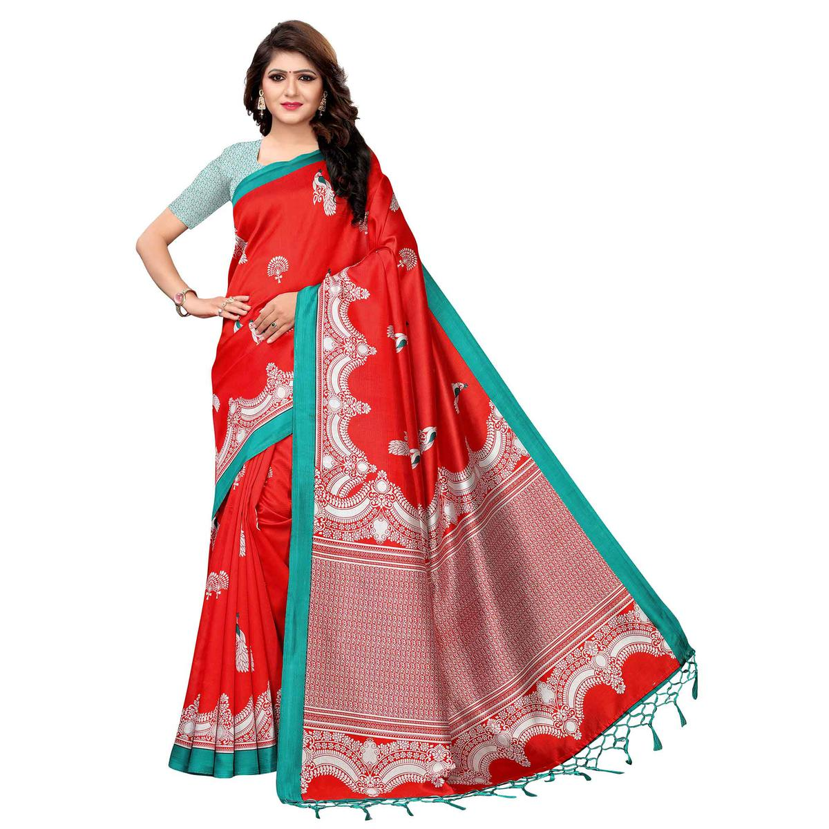 Amazing Red Colored Festive Wear Printed Art Silk Saree