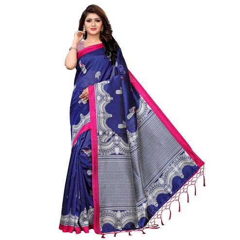 Gorgeous Blue Colored Festive Wear Printed Art Silk Saree