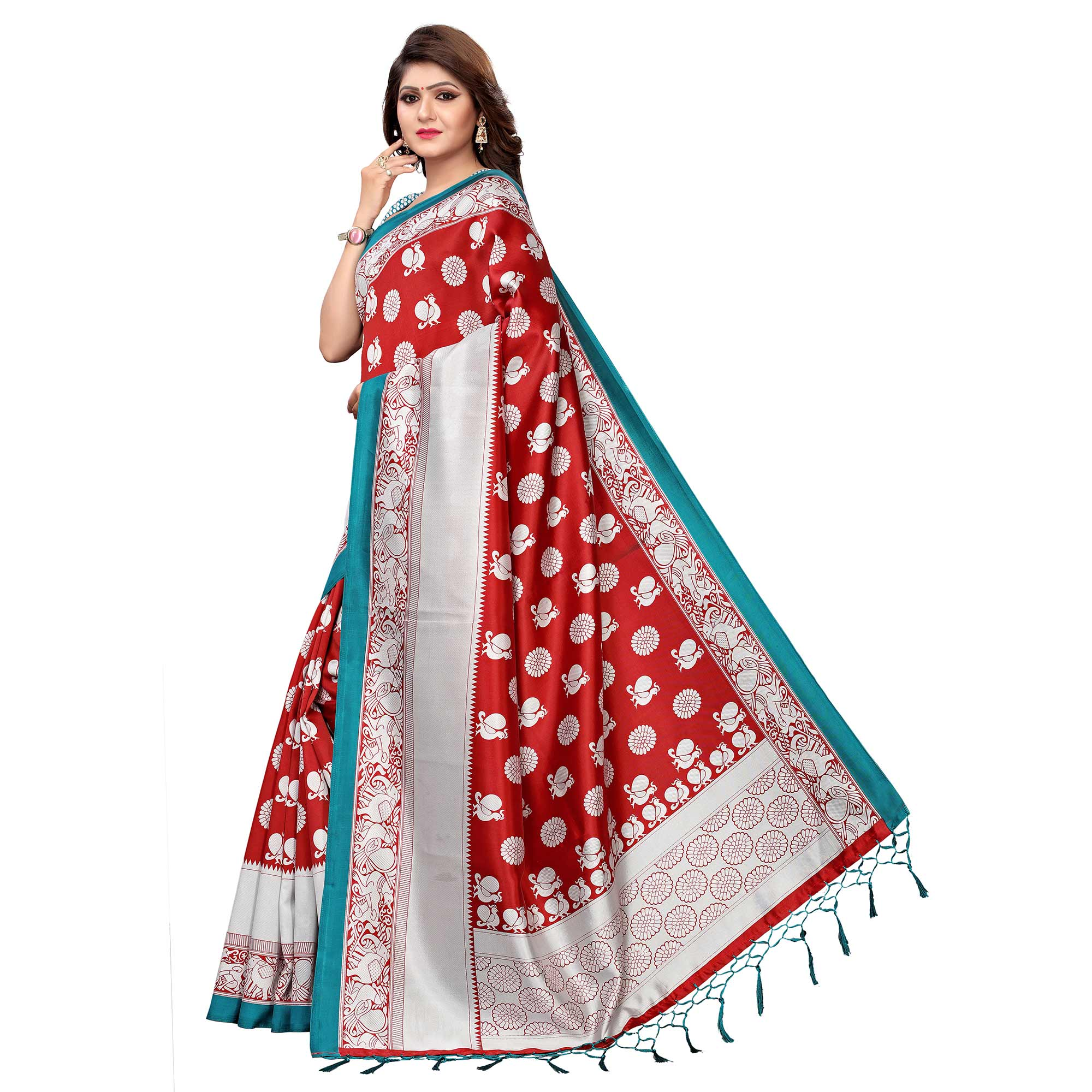 Blissful Red Colored Festive Wear Printed Art Silk Saree