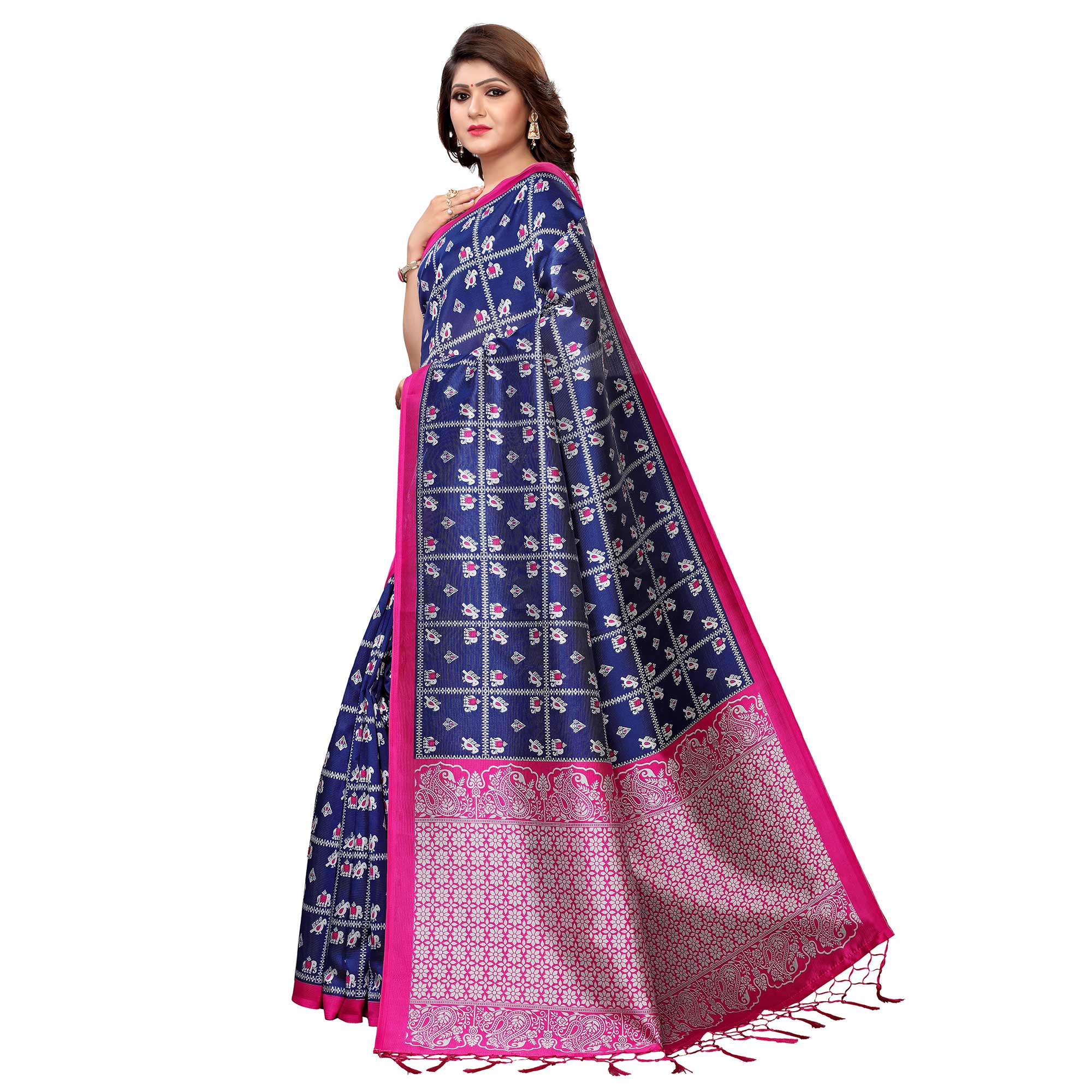 Ideal Blue Colored Festive Wear Printed Art Silk Saree