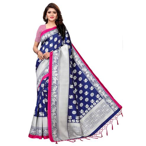 Imposing Blue Colored Festive Wear Printed Art Silk Saree