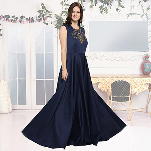 Charming Navy Blue Designer Hand Embroidered Gown