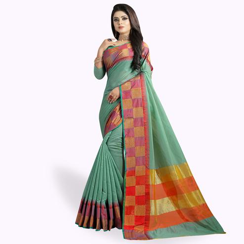 Appealing Aqua Green Colored Festive Wear Woven Chanderi Silk Saree