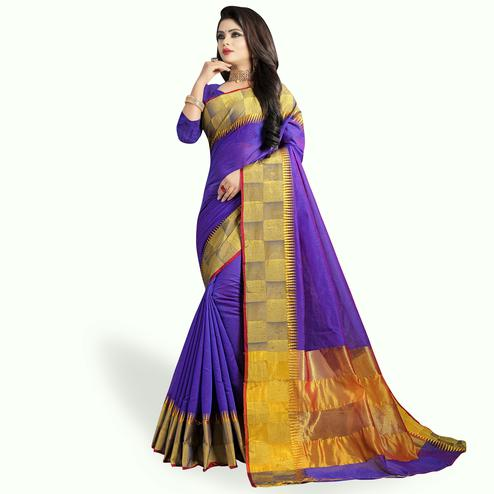Prominent Purple Colored Festive Wear Woven Chanderi Silk Saree