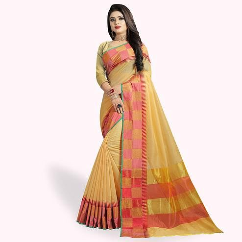 Arresting Light Yellow Colored Festive Wear Woven Chanderi Silk Saree