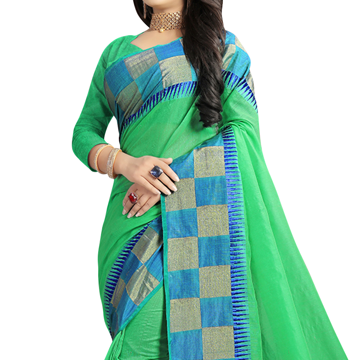 Desirable Green Colored Festive Wear Woven Chanderi Silk Saree