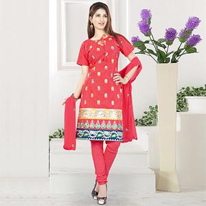 Ravishing Red Embroidered Cotton Dress Material