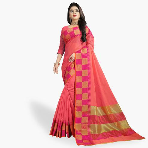 Sophisticated Pink Colored Festive Wear Woven Chanderi Silk Saree