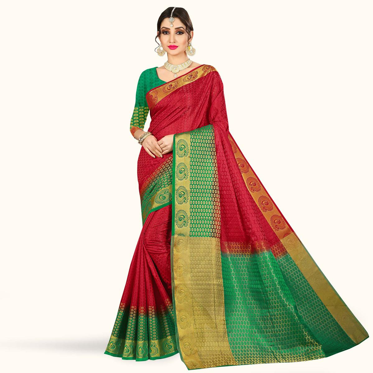 Glorious Red Colored Festive Wear Woven Tussar Silk Saree