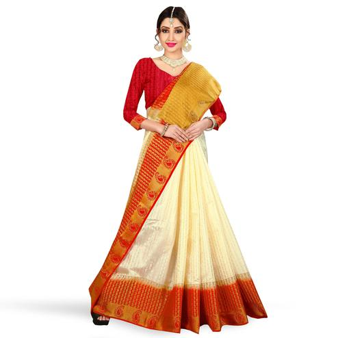 Charming Cream Colored Festive Wear Woven Tussar Silk Saree