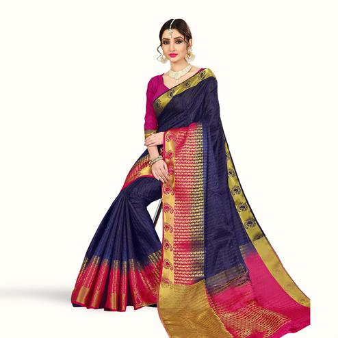 Engrossing Navy Blue Colored Festive Wear Woven Tussar Silk Saree