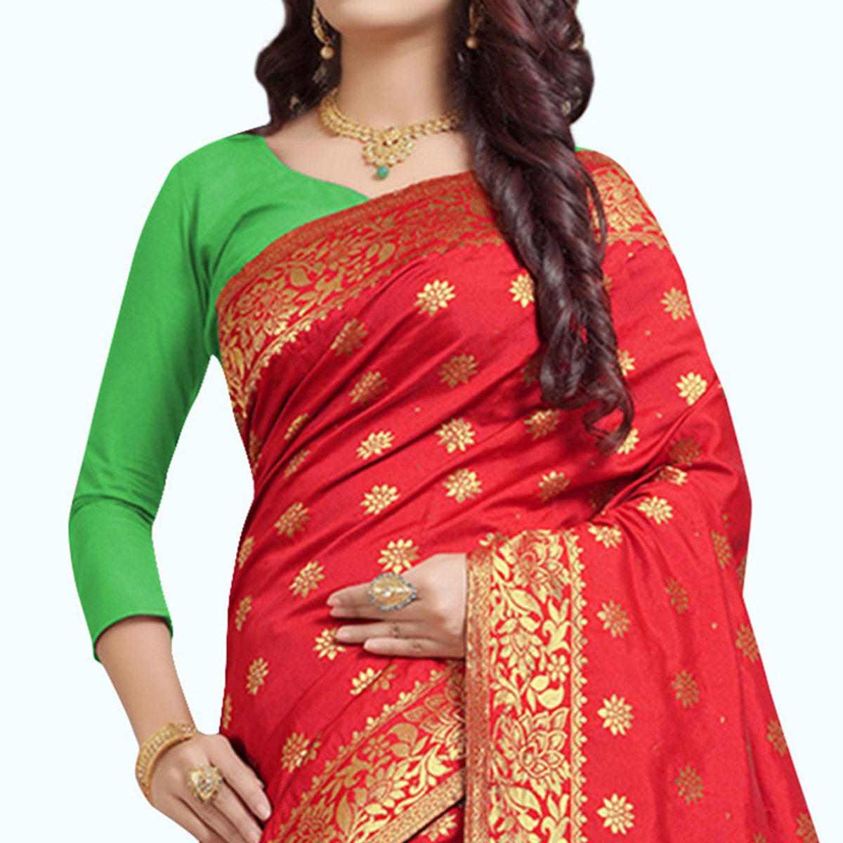 Delightful Red Colored Festive Wear Woven Silk Saree