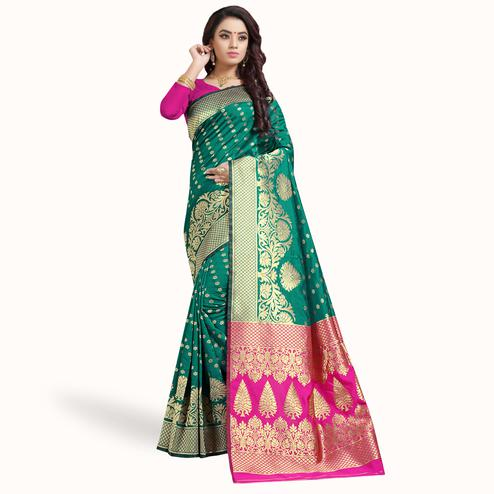 Engrossing Dark Turquoise Green Colored Festive Wear Woven Silk Saree