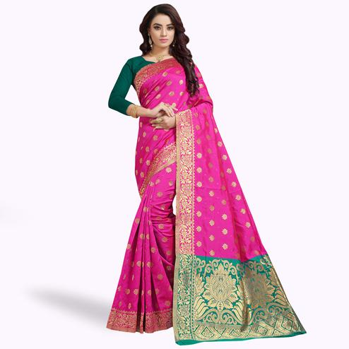 Innovative Pink Colored Festive Wear Woven Silk Saree