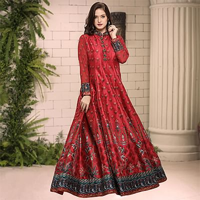 Hot Red Designer Digital Print With Hand Embroidery Banglori Silk Gown