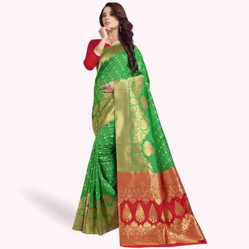 Blissful Green Colored Festive Wear Woven Silk Saree
